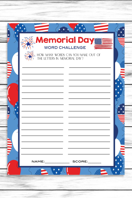 Memorial Day Word Challenge Game, Printable Kids Activity