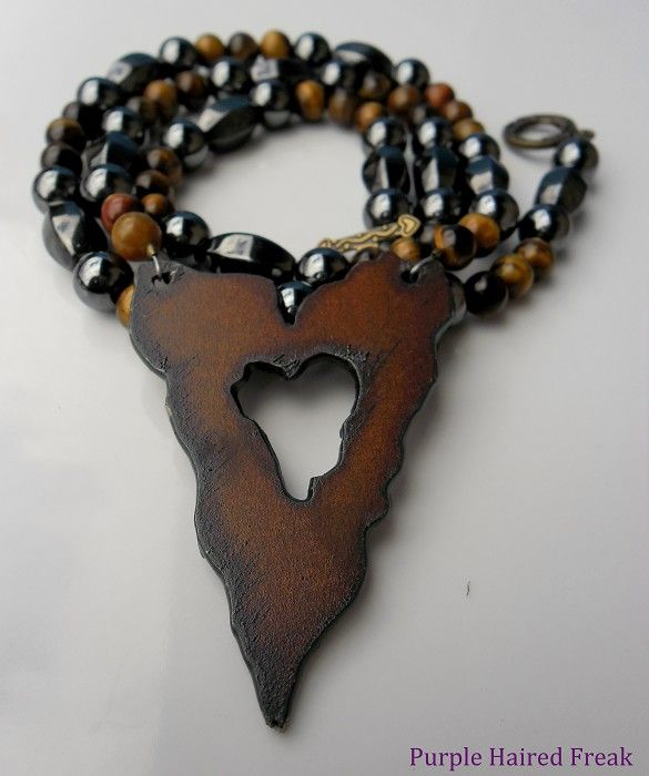 Jagged Heart Necklace with Hematite & Tigers Eye - by PurpleHairedFreak on madeit
