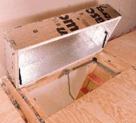 Diy Attic Access Insulation 1 4 X 8 Sheet Of 2 Rigid Foam Board Approx 33 1 Tube Caulk Attic Stairs Attic Renovation Attic Stair Insulation