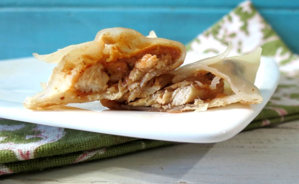BBQ Chicken Potstickers - A low calorie, steamed wonton filled with chicken and Spicy BBQ sauce, served with a side of Spicy BBQ sauce.  Only 35 calories each!!