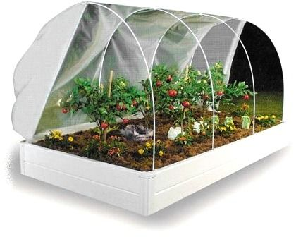 Raised Bed Garden Greenhouse - another covered/fenced example.