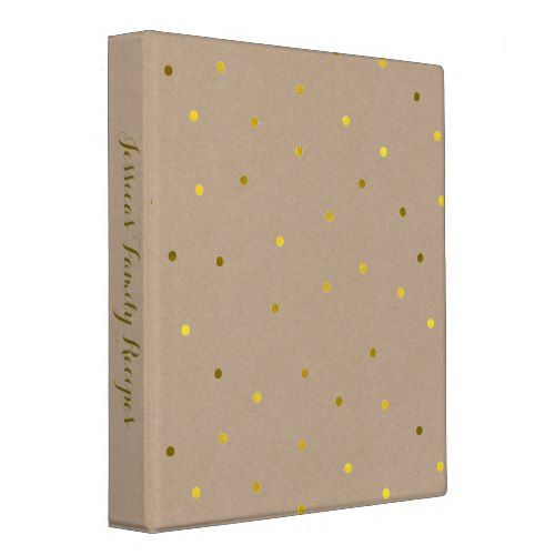 Faux Gold Foil Confetti Dots Personalized 3 Ring Binder