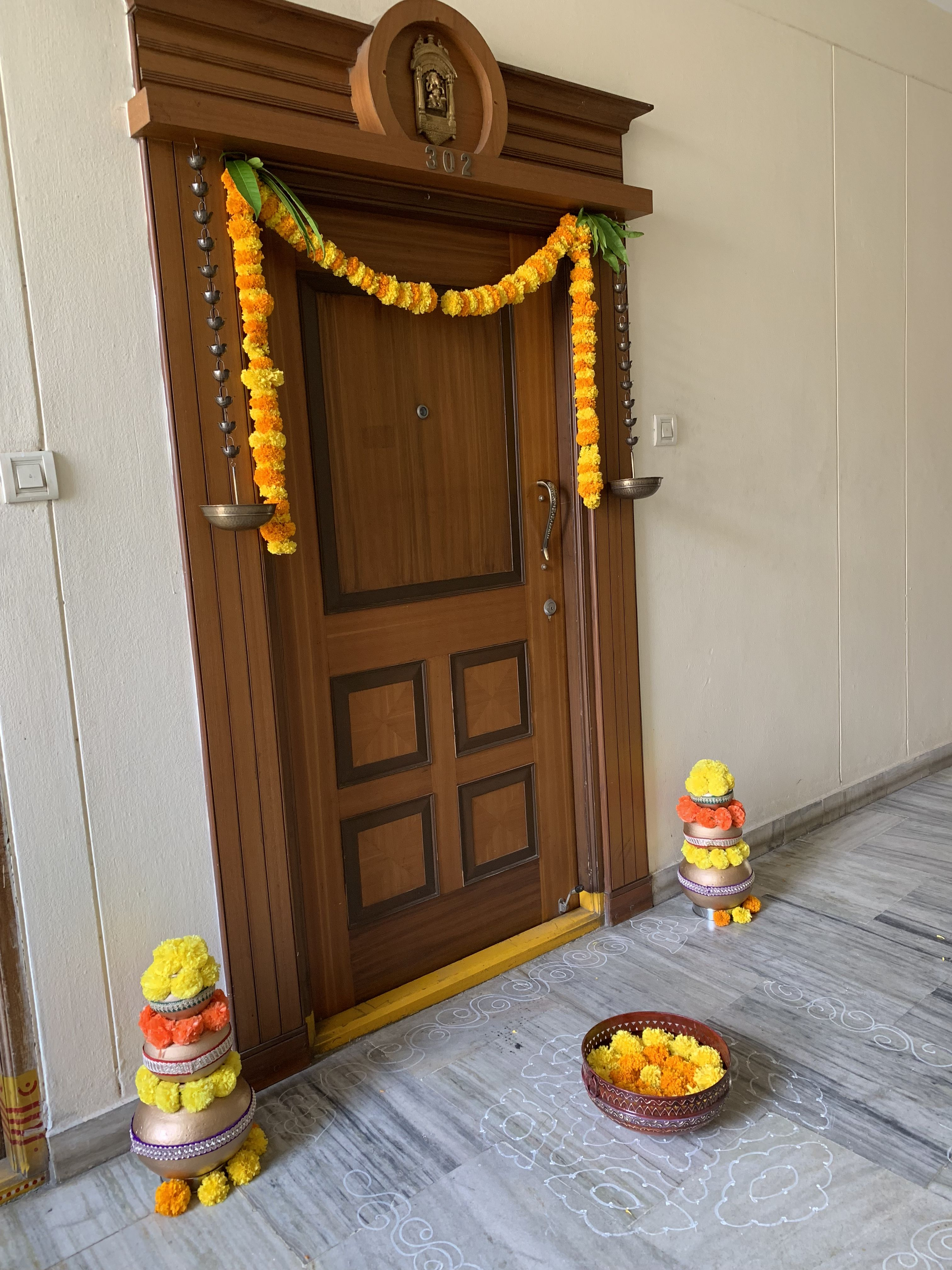 Flower Poofs Love It So Easy To Make With Tissue Paper Diwali Decorations At Home Pooja Room Door Design Door Decorations