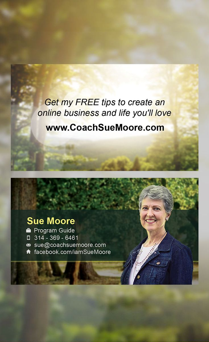 Business card design that we created for sue moore