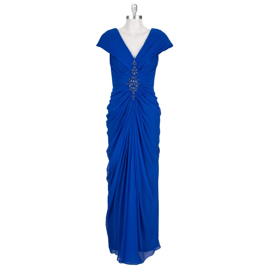 Tadashi Jeweled Ruched Silk Gown Vonmaur Fashion Dresses Evening Gowns [ 900 x 900 Pixel ]