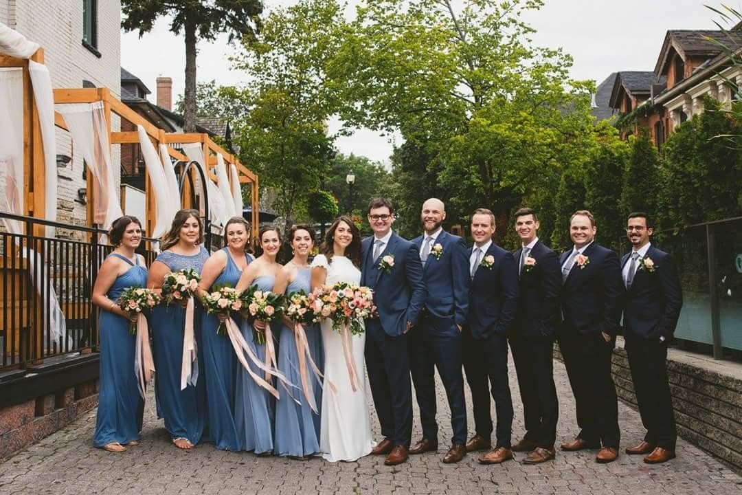Something Blue Dusty Blue Bridesmaids And Navy Blue Groomsmen With