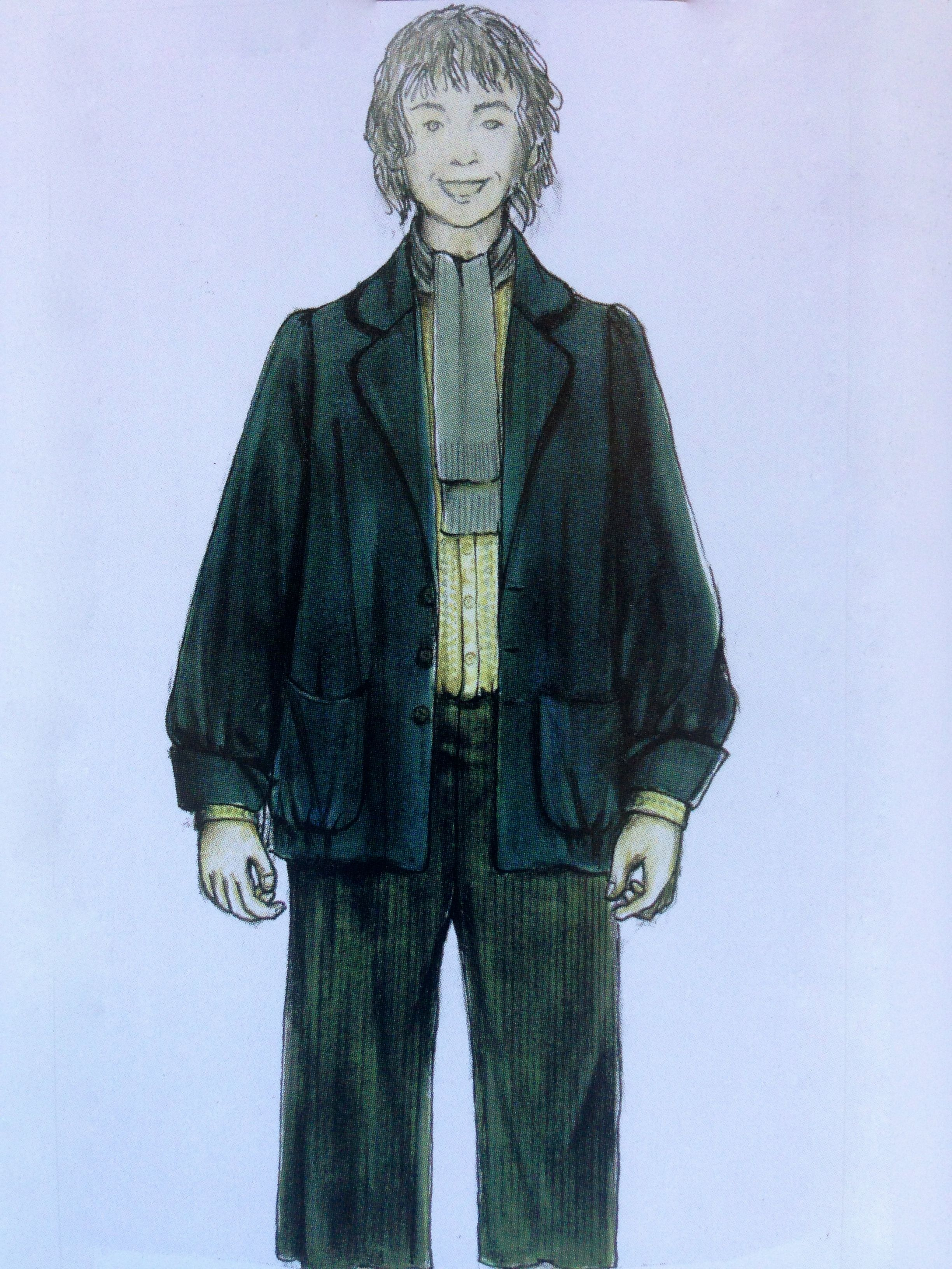 "Costume concept for Pippin Took from ""Lord of the Rings: Fellowship of the Rings"" (2001).  The final costume for the actor featured an embroidered linen button-down and bottle-green velveteen jacket for the youngest of the hobbit quartet."