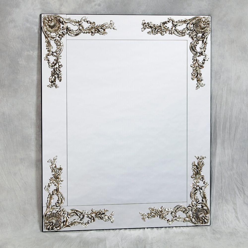Frameless Metallic Wall Mirror 104 X 84cm