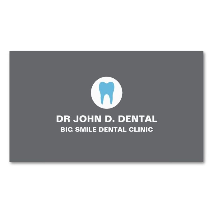 Dentist, dental gray business card with tooth logo. Make your own business card with this great design. All you need is to add your info to this template. Click the image to try it out!