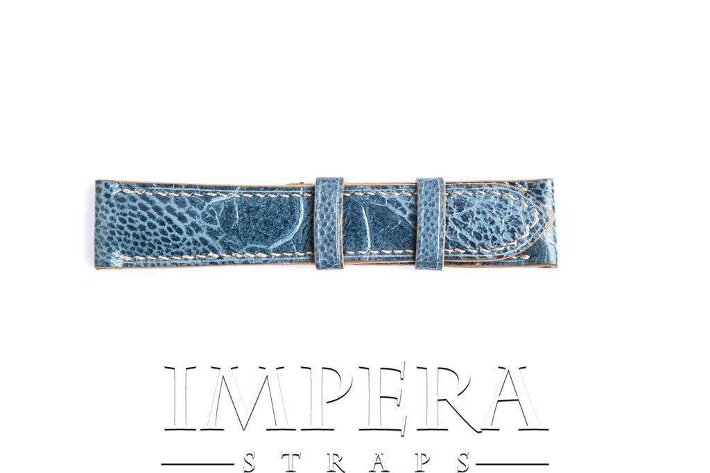 Genuine Denim Blue Ostrich Leg Watch Strap,https://www.imperastraps.com