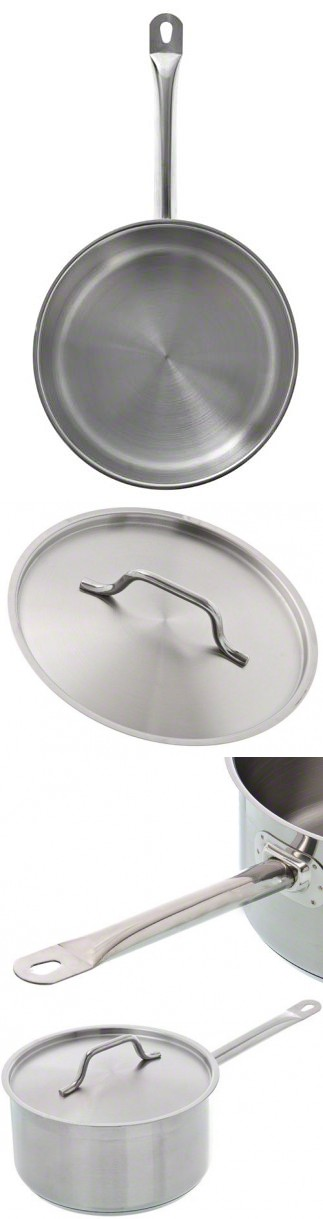 3 1//2 Qt Induction Ready Stainless Steel Sauce Pan w//Cover Update International SSP-3