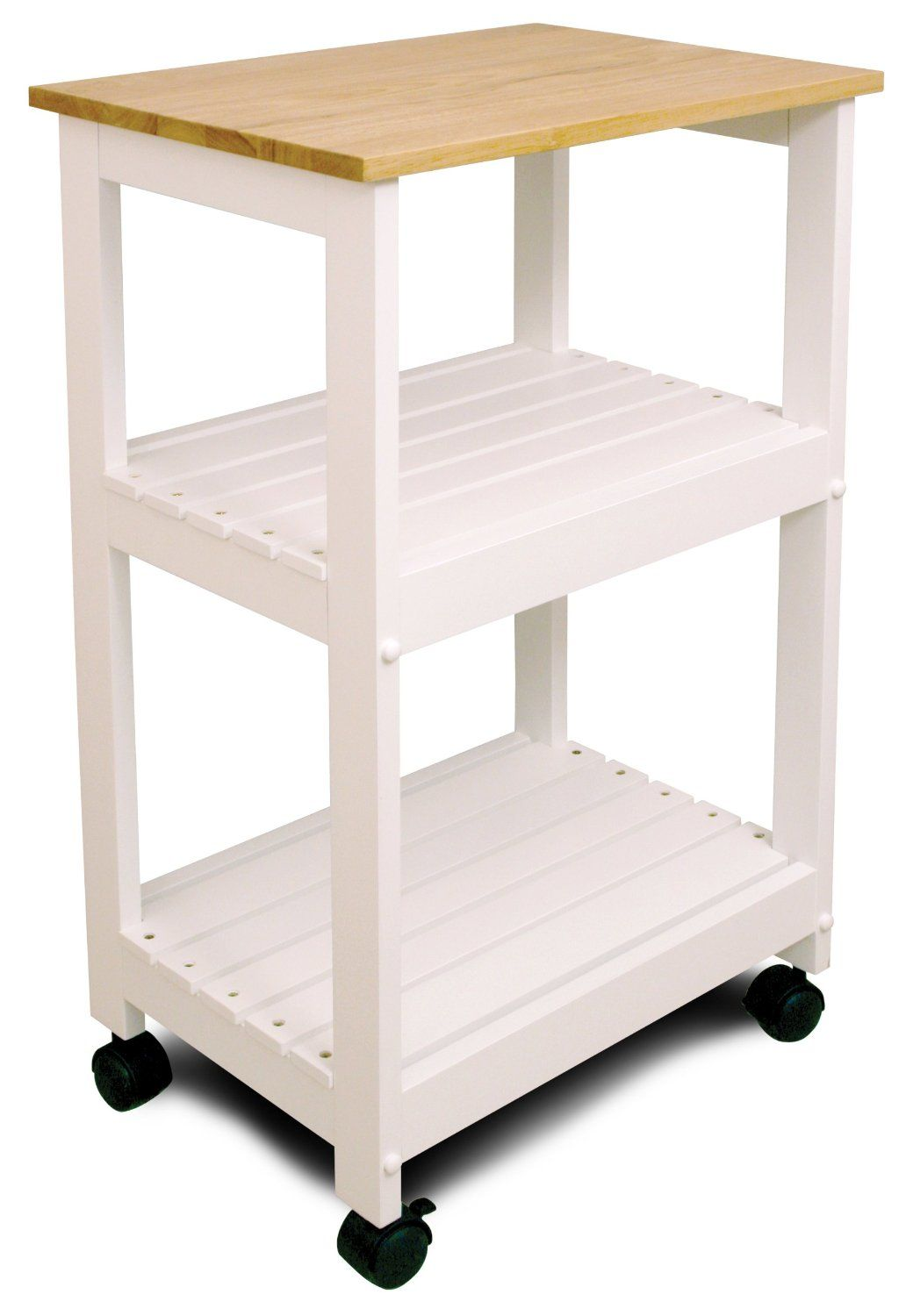 Amazon.com: Catskill Craftsmen Utility Kitchen Cart/Microwave Stand, White Base with Natural Top: Home & Kitchen