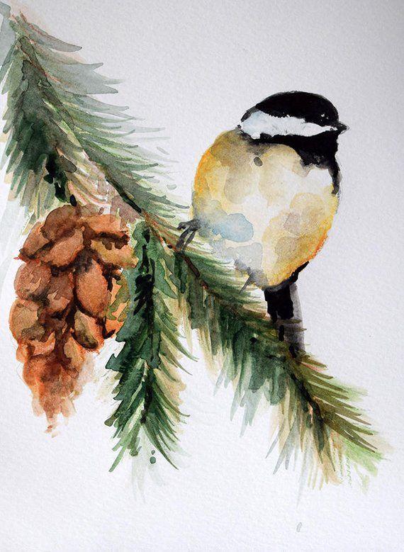 Ursprüngliche Aquarell-Vogel-Malerei, Chickadee auf einem Zweig, Weihnachtskunst, Kiefern-Kegel, der 6×8 Zoll malt