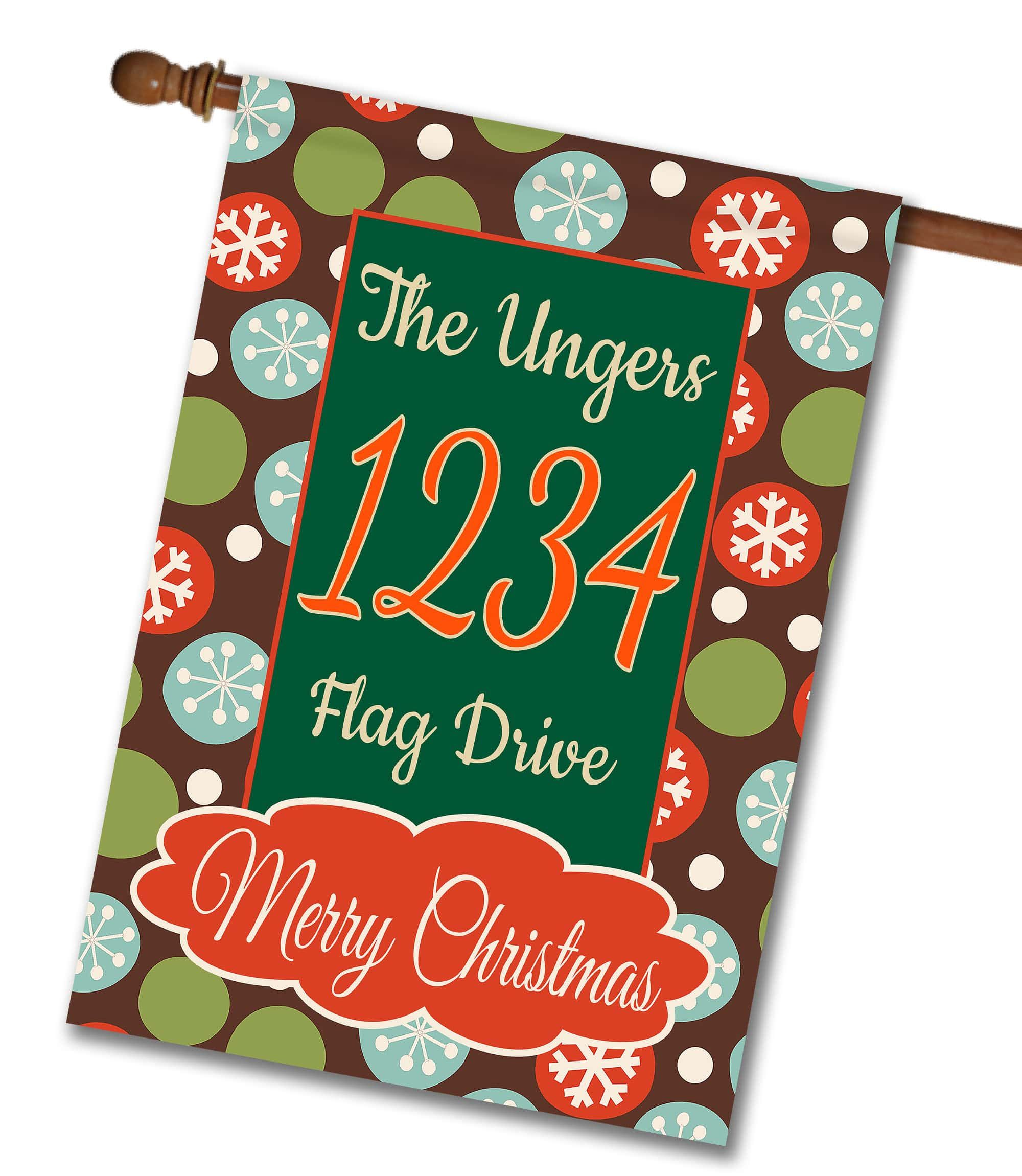 """Merry Christmas Snowflakes – Address House Flag Flag Size 28"""" x 40"""" Flag stand sold separately Proudly Printed in the USA Vibrant colors printed on a poly/cotton outdoor quality fabric. Digitally printed on both sides of the fabric. Two fabric options given at checkout."""