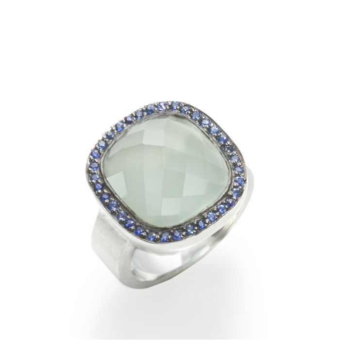 A great Sophisticated & Sassy Gift! AQUA CHALCEDONY WITH BLUE SAPPHIRES: Aqua Chalcedony with blue sapphires, 14k white gold.