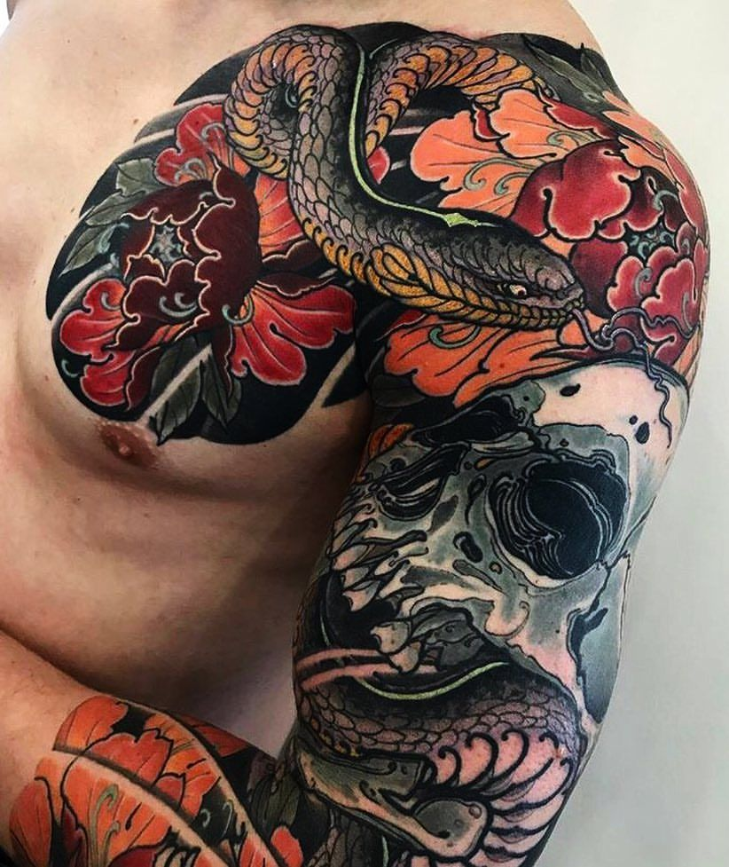 japanese tattoo sleeve by max titanic japaneseink japanesetattoo irezumi tebori. Black Bedroom Furniture Sets. Home Design Ideas