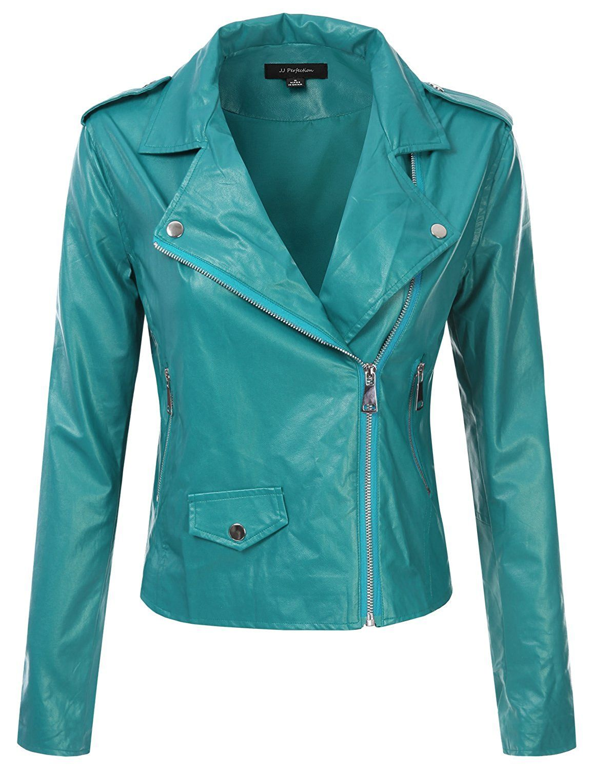JJ Perfection Women's Solid Long Sleeve Faux Leather