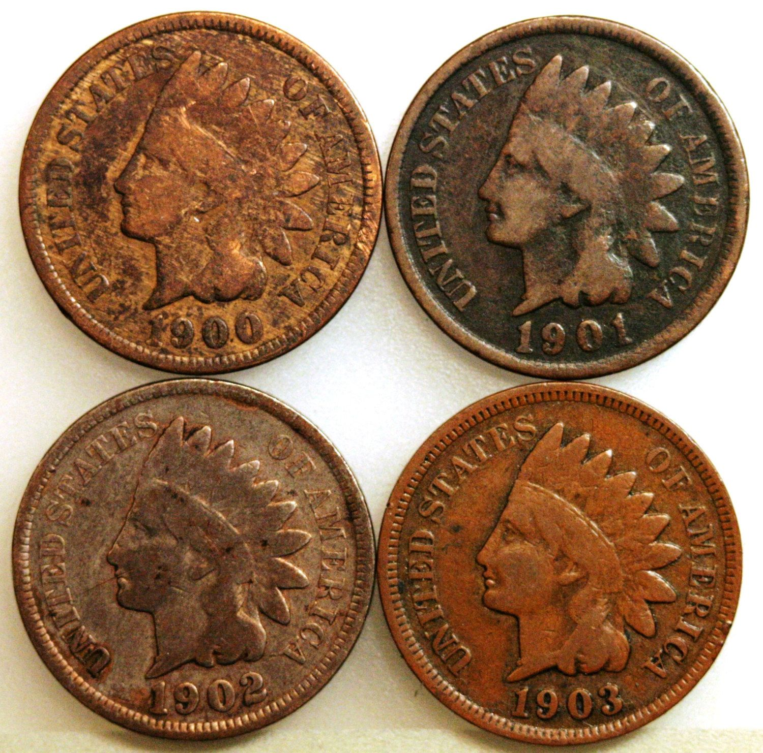 US Indian Head Cents Circulated Price per Each Coin 1900 or 1901 or 1902 photos