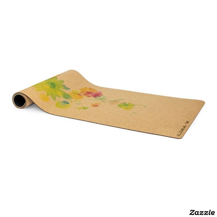 Personalized Cork Yoga Mat Float Flower Design