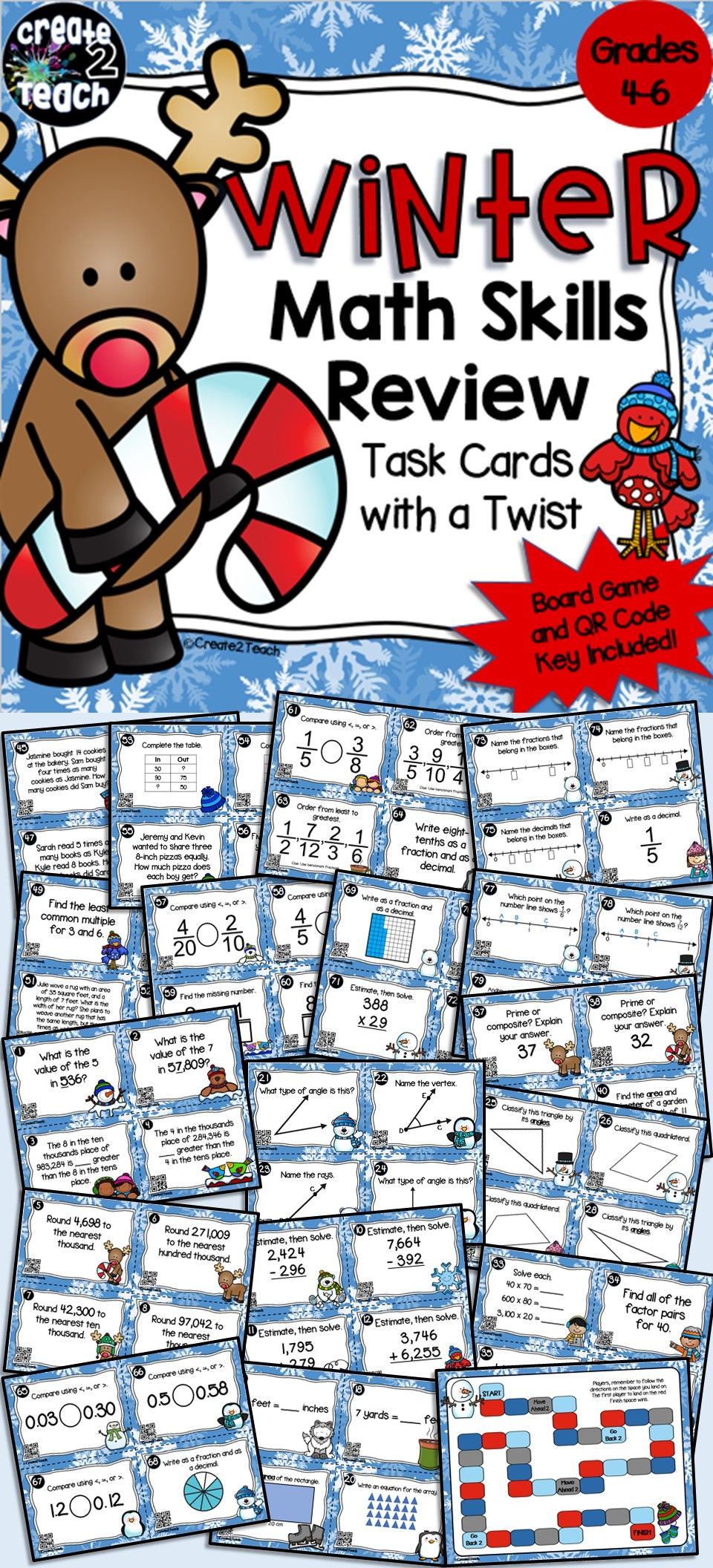 4th Grade Winter Math Test Prep Task Card Board Game | Word problems ...