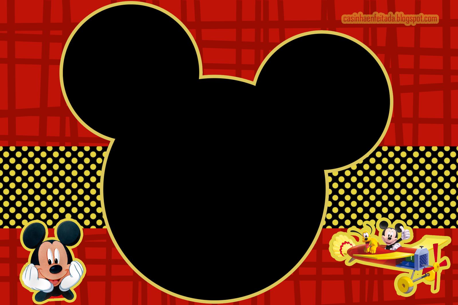 Kit Mickey Preto Vermelho E Amarelo Para Imprimir Gratis Mickey