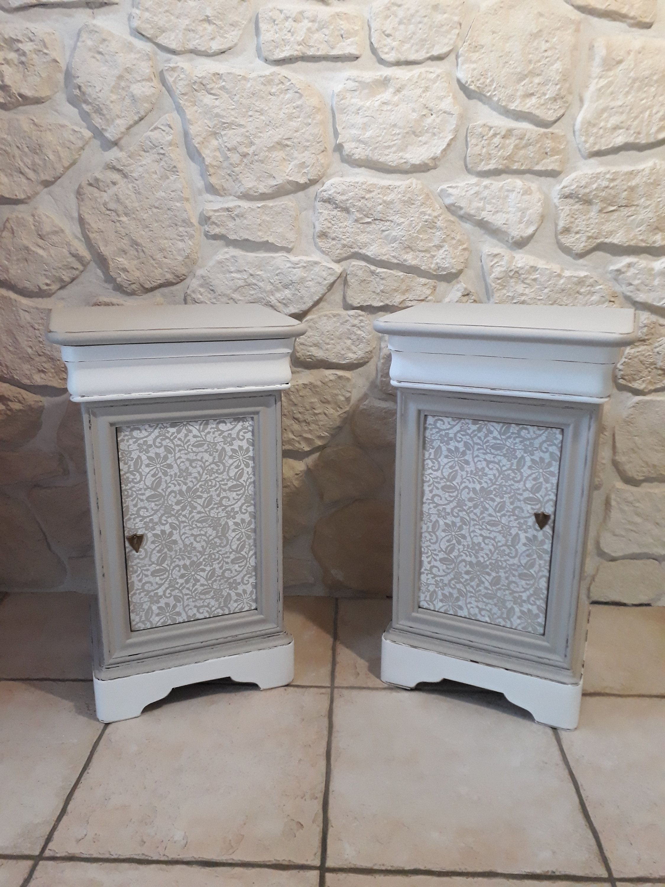 2 Louis Philippe Bedsides Completely Redesigned And Patinated Etsy Lace Painting Shabby Chic Bedside