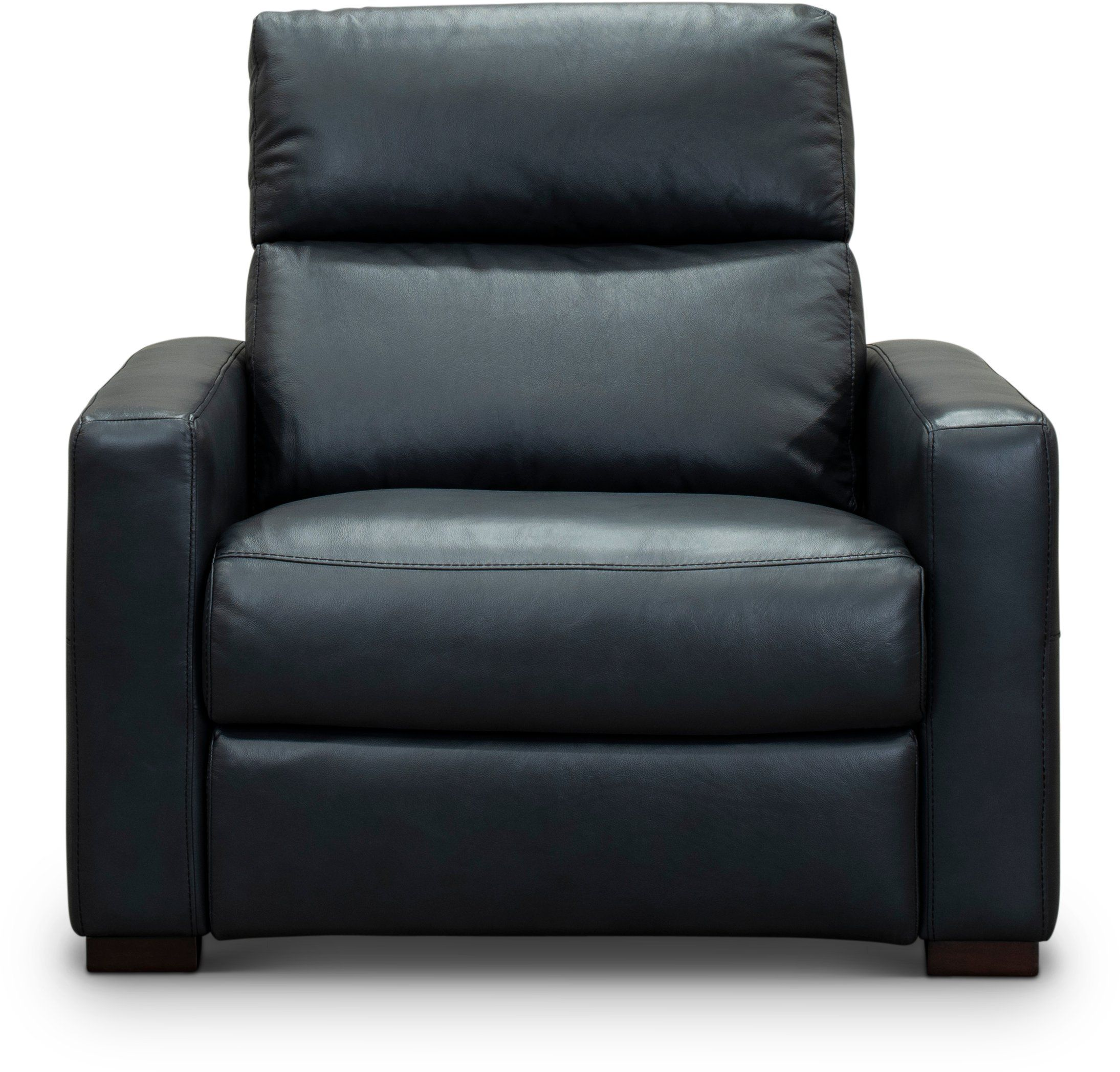 Navy Blue LeatherMatch Power Recliner Chair and a Half