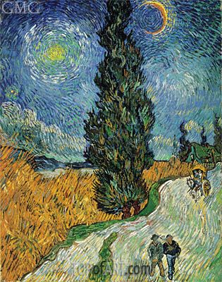 Road with Cypress and Star - Vincent van Gogh - Hand-Painted Art Reproduction and Canvas Print