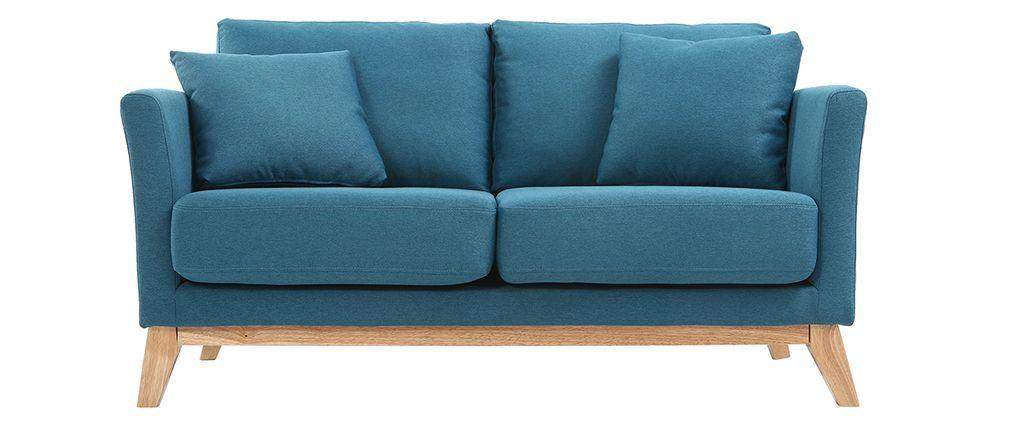 Canapé scandinave 2 places bleu canard et pieds bois clair OSLO