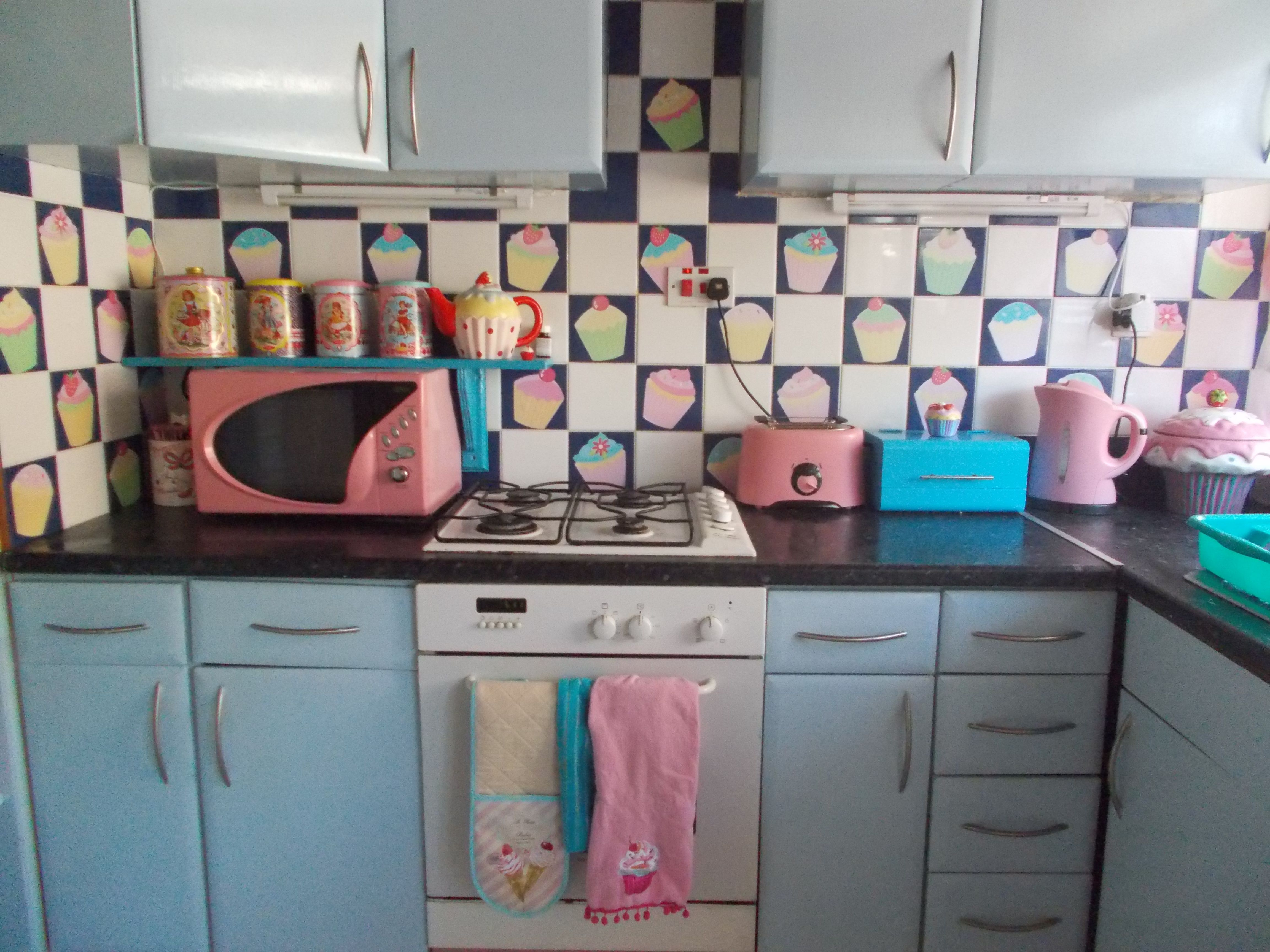 cupcake kitchen back splash to hide ugly tiles stickers found on