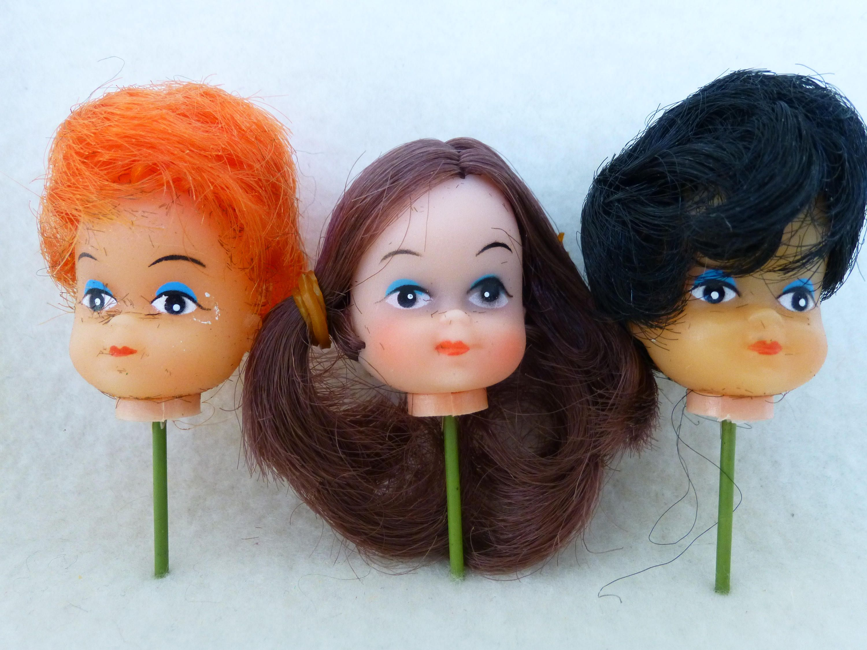 Vintage Plastic Vinyl Doll Head On A Short Stick Lot E By Mooglasmarket On Etsy Doll Head Vinyl Dolls Dolls