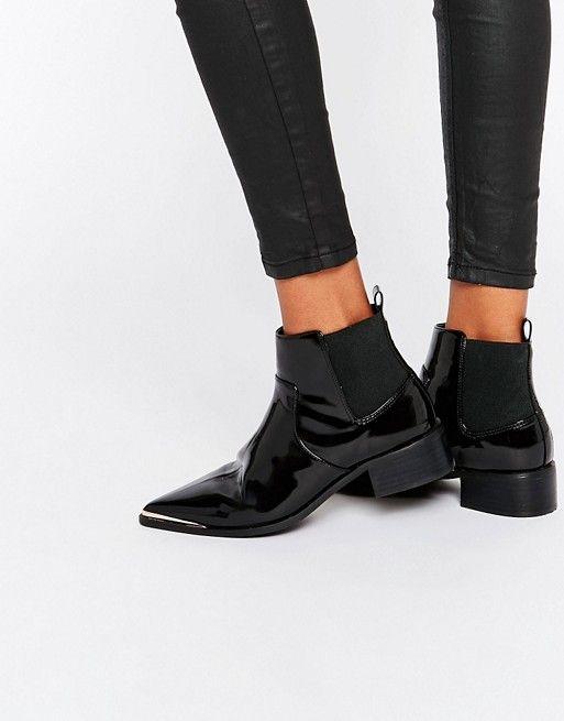 Bottines & low boots plates ASOS simili cuir noir 40 SxDSX
