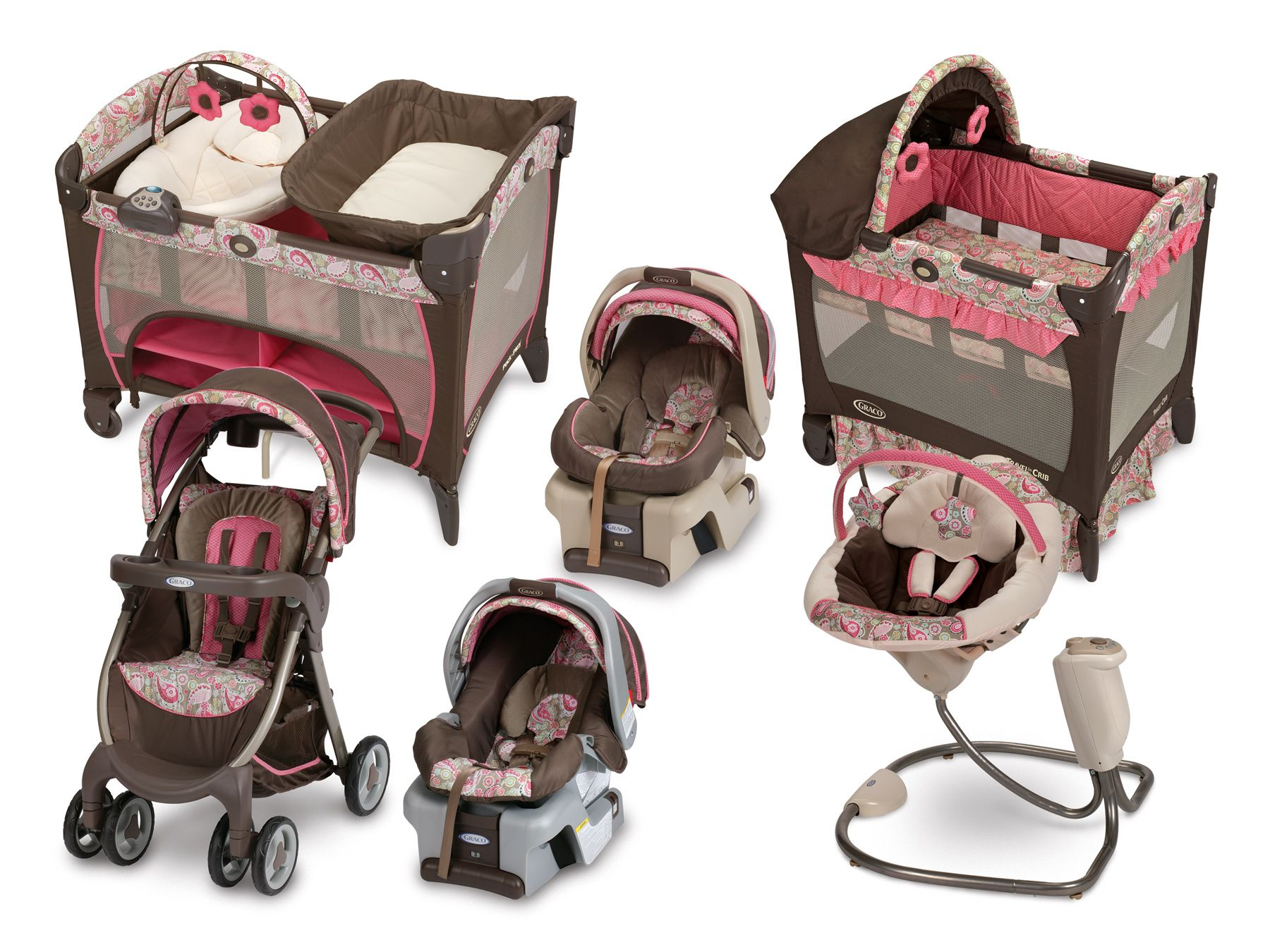 Graco high chair pink and brown - Girl Fold And Go Crib Station Deluxe Comfy Cove Swing