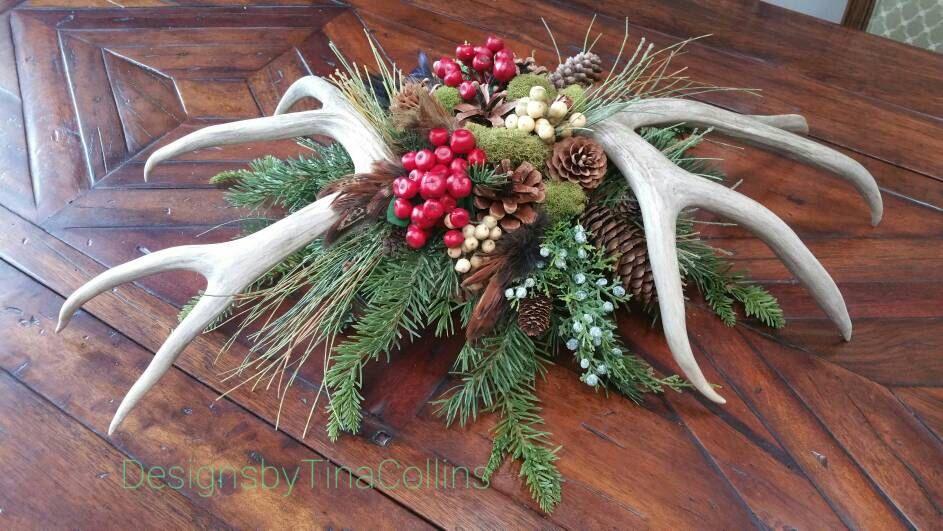 CUSTOM ORDER ARRANGEMENT Woodland Christmas Antler Centerpiece / Arrangement by DesignsbyTinaCollins on Etsy https://www.etsy.com/listing/493731989/custom-order-arrangement-woodland