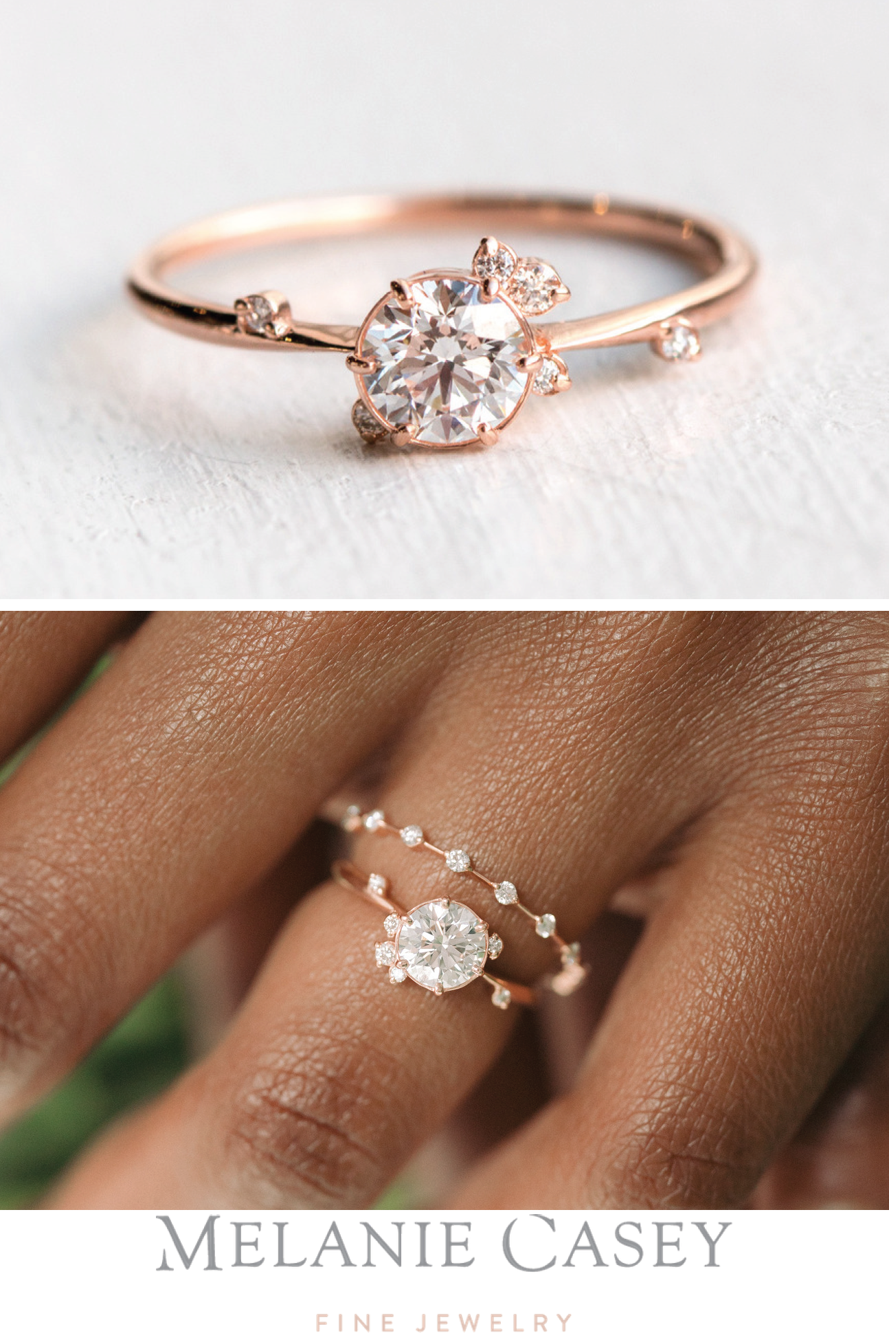 To A Flame Ring Round Diamond Rose Gold Engagement Ring 14k