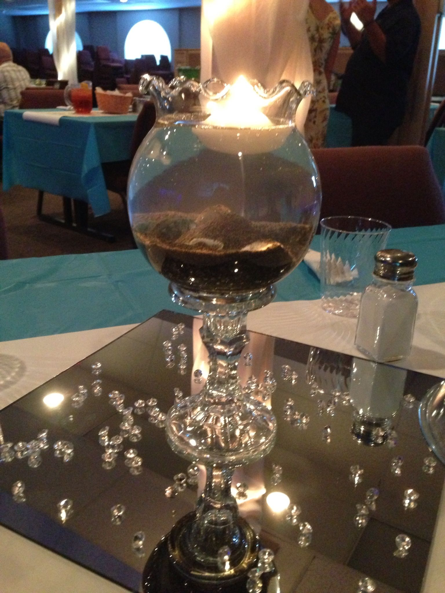 Center Piece Small Fish Bowl Atop Candle Holder Sand And Seashells Fill With Water Top With