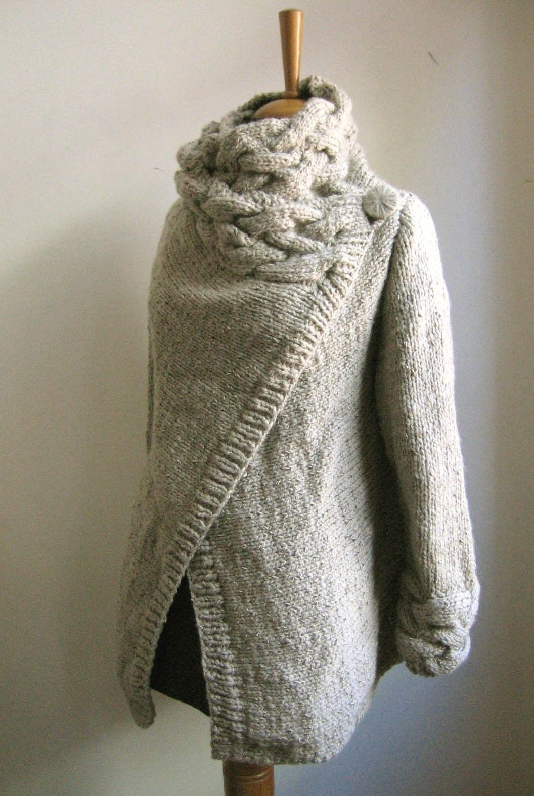 RIONA hand knitted cardigan coat warm grey | Gray and Etsy