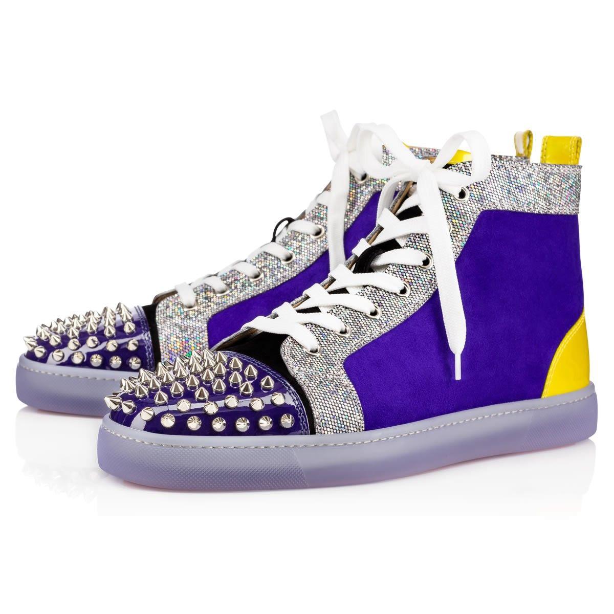 d5490262269d CHRISTIAN LOUBOUTIN Lou Spikes Glitter Disco Ball Multicolor Glitter Canvas  - Men Shoes - Christian Louboutin.  christianlouboutin  shoes