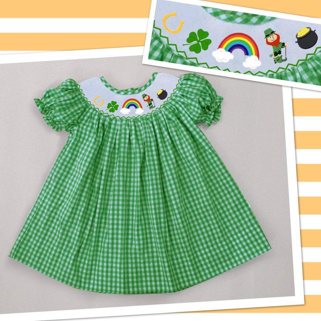 501b6f4ea Rosalina Shamrock Smocked Dress - Baby/Toddler Girl | St. Patrick's Day | Smocked  baby dresses, Dresses, Smock dress