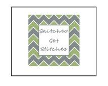Funny Cross Stitch Pattern - Snitches Get Stitches Pattern, Instant Download PDF