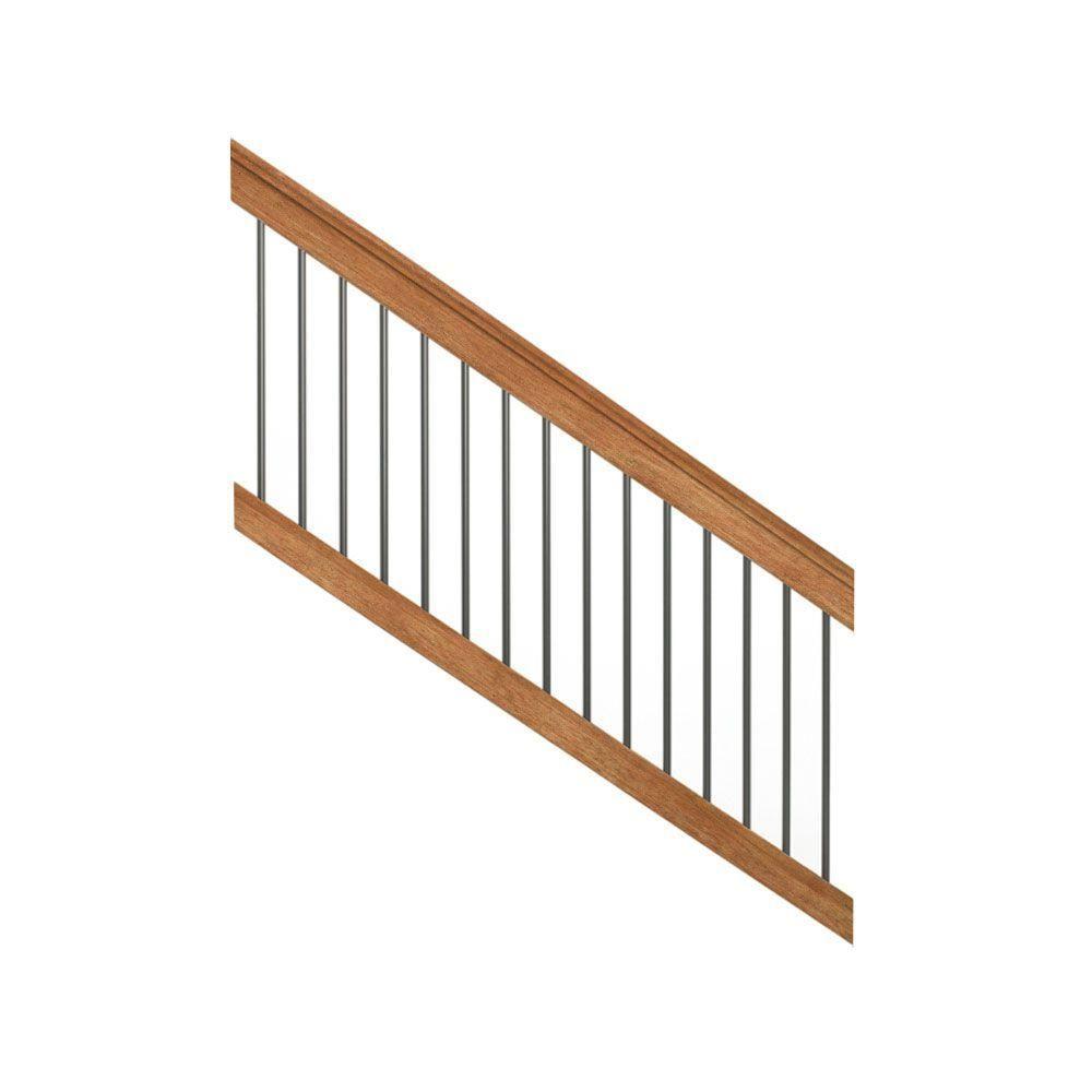Pressure-Treated 6 ft. Cedar-Tone Stair Deck Railing Kit with ...