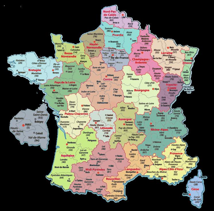 Carte De France Departements Carte Des Departements De France Carte De France Departement Departements Francais Carte De France