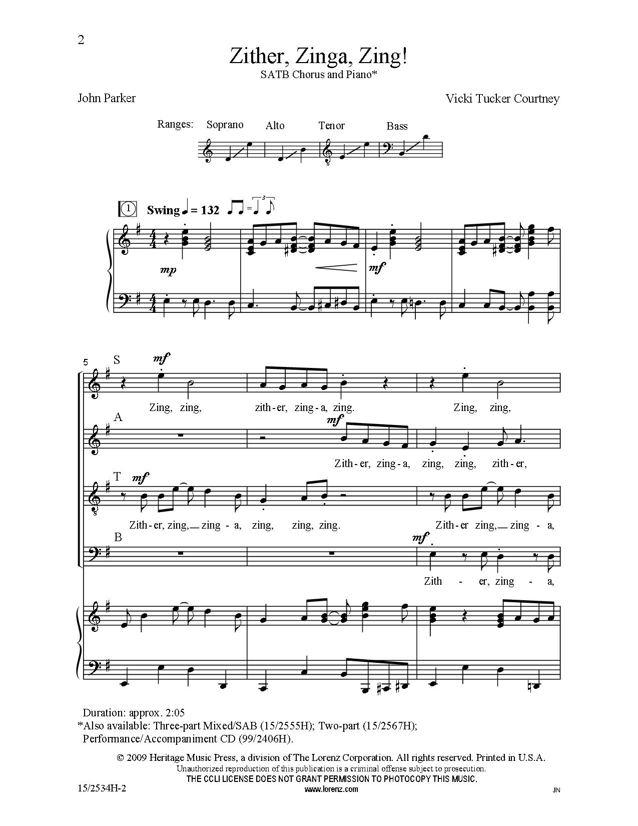 Zither Zinga Zing Satb By Vicki Tucker