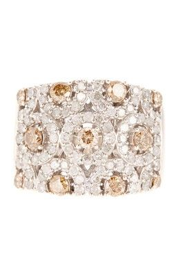 HauteLook | Diamond & Gem Blowout By Savvy Cie: Savvy Cie White & Champagne Diamond Circle Ring - 1.50 ctw