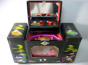 Vintage japanese multipurpose makeup case jewellery music box
