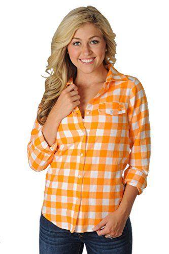 c15dd658 UG Apparel Women's University of Tennessee Volunteers Checkerboard Plaid  Shirt Medium Orange/White