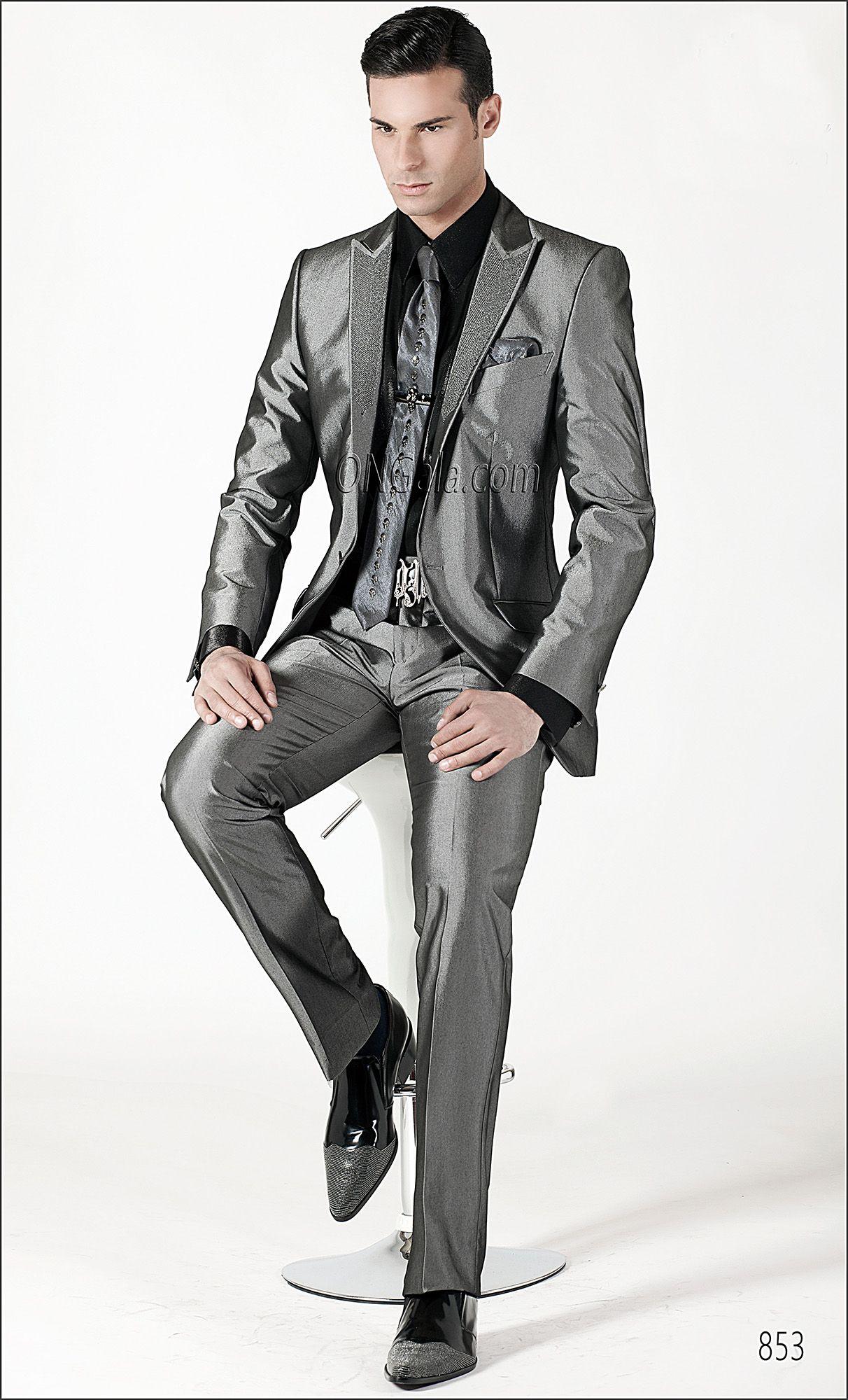 Abito Matrimonio Uomo Grigio : Abito da cerimonia uomo ricamato grigio antracite shiny suit