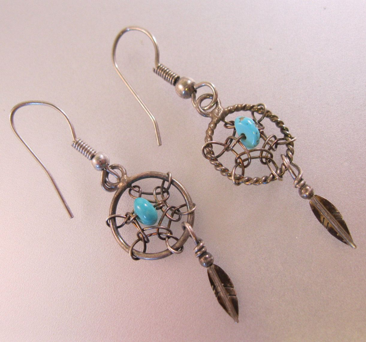$1999 Native American Dream Catcher Turquoise Feather Earrings Drop Dangle  Sterling Silver Vintage Jewelry Jewellery By