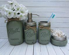 Bathroom Jar Set mason jar bathroom set, mason jar soap dispenser, rustic decor