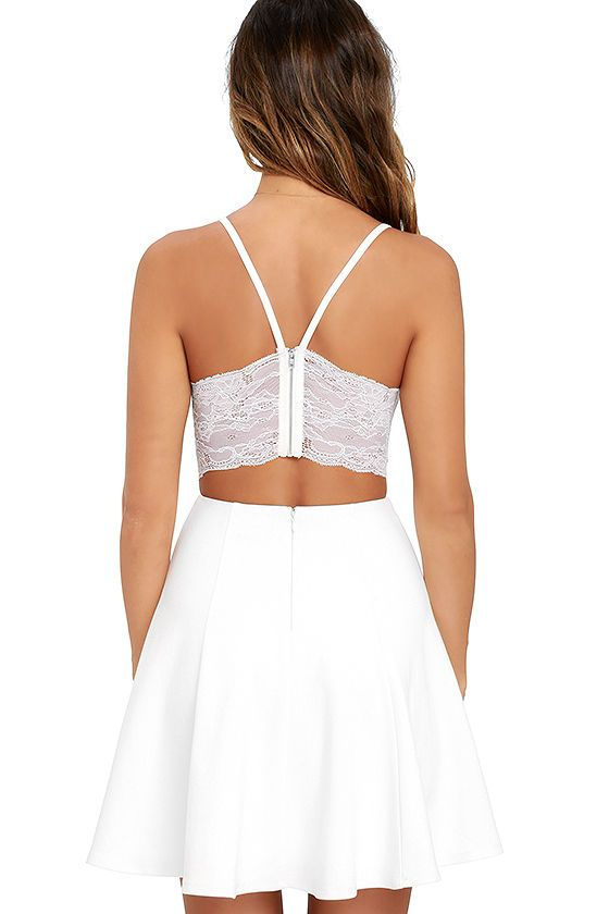 385b5a21f80a2 Each night spent in the Perfect Evening Ivory Lace Skater Dress will be  absolutely enchanted! Stretch knit shapes a triangle bodice, finished with  princess ...